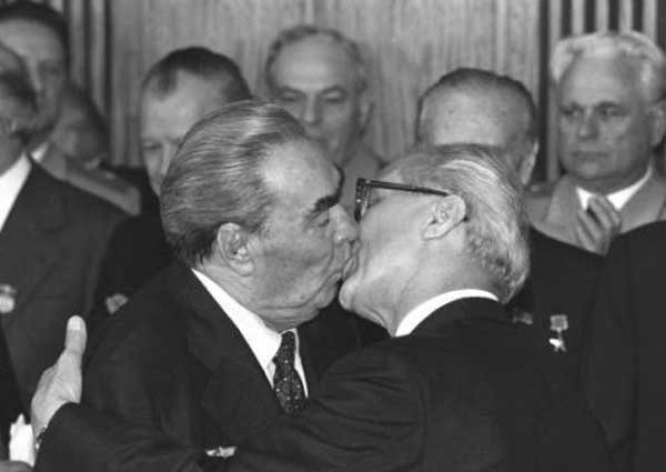 A classic momemnt between Leonid Brezhnev and East Germany's Erich Honecker.