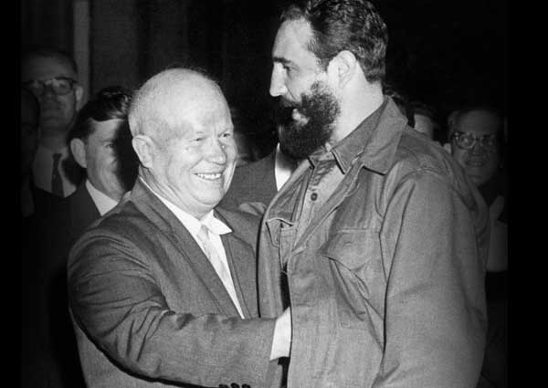 Soviet leader, Nikita Kruschev checking out Cuban revolutionary, Fidel Castro