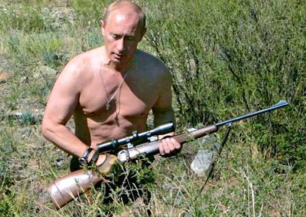 Shirtless Putin. Gun.