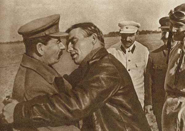 An intimate moment between Stalin and his admirer, Soviet aviator, Valerie Chaklov