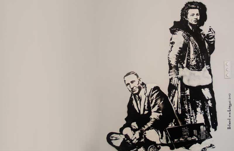 Existing street art by Edward von Lõngus,Estonian literary giants, Tammsaare and Koidula
