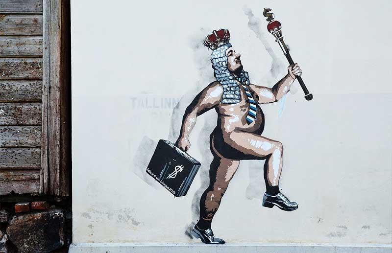 Existing street art by Edward von Lõngus, The Naked Kaiser